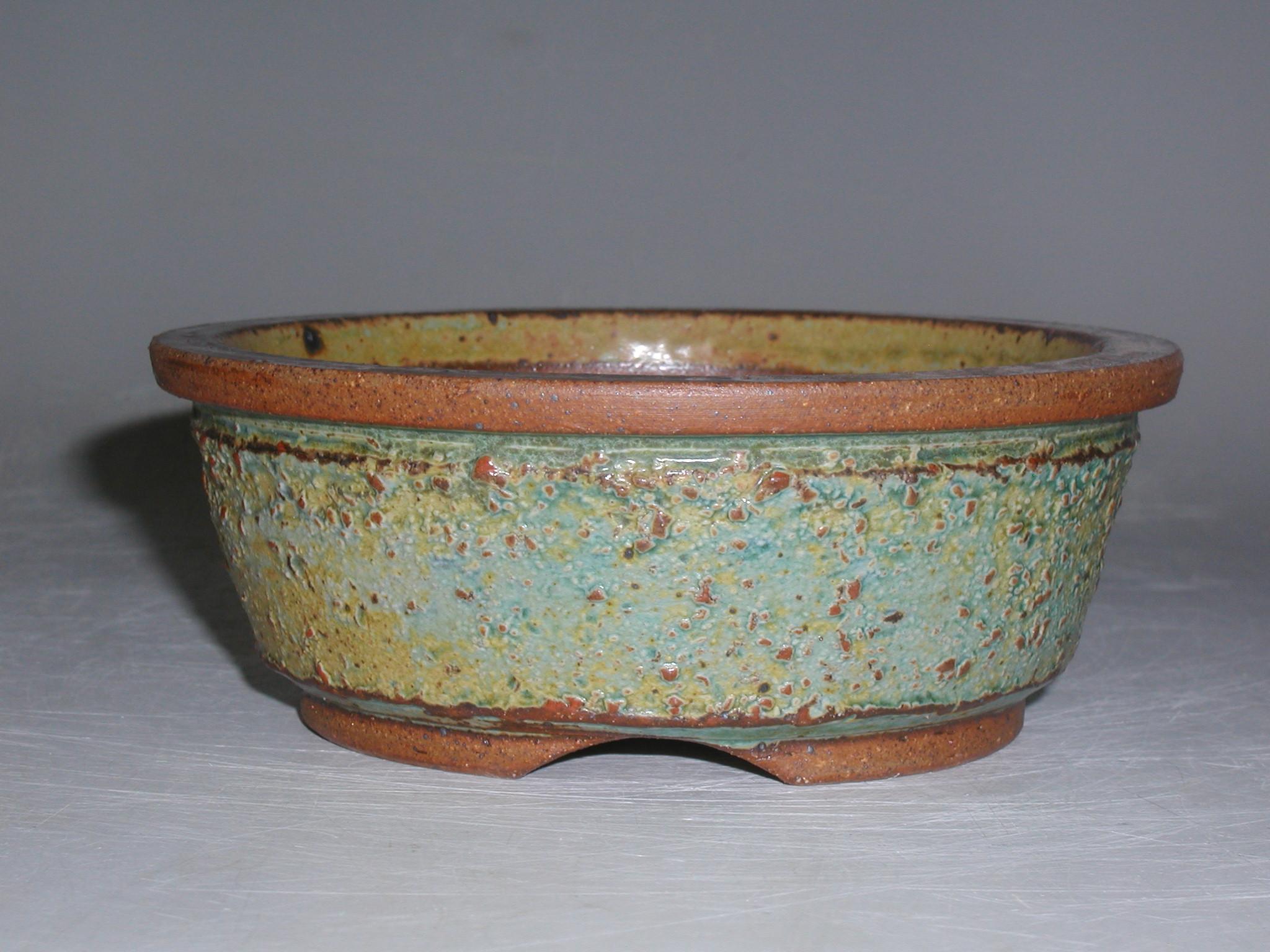 Turquoise Stoneware Round Bonsai Pot Sara Rayner Pottery
