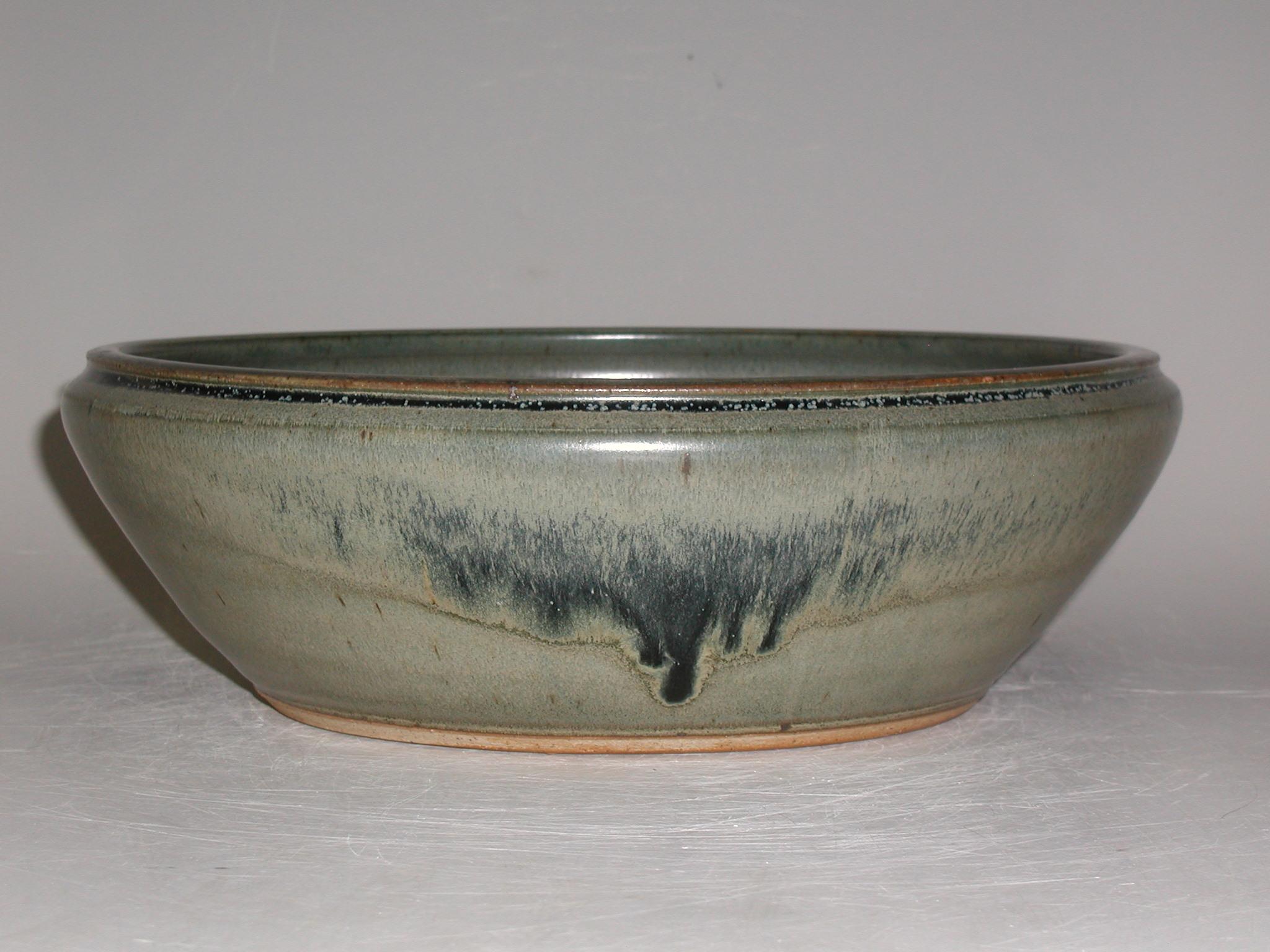Grey Blue Porcelain Round Bonsai Pot Sara Rayner Pottery